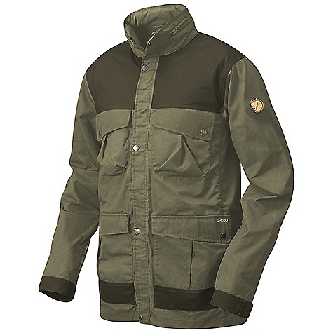 On Sale. Free Shipping. Fjallraven Men's Telemark Jacket DECENT FEATURES of the Fjallraven Men's Telemark Jacket A rough trekking jacket in G-1000 original Stowaway hood Drawcord adjustment in the back waist Two- way front zipper with placket Two-way bellow pockets with button closure Two chest pockets Sleeve end with strap and buttons The inside seams with binding One inner pocket with zipper and one open Leather Logo The SPECS Fabric: G-1000 Original: 65% polyester 35% cotton Weight: M: 797 g - $179.00