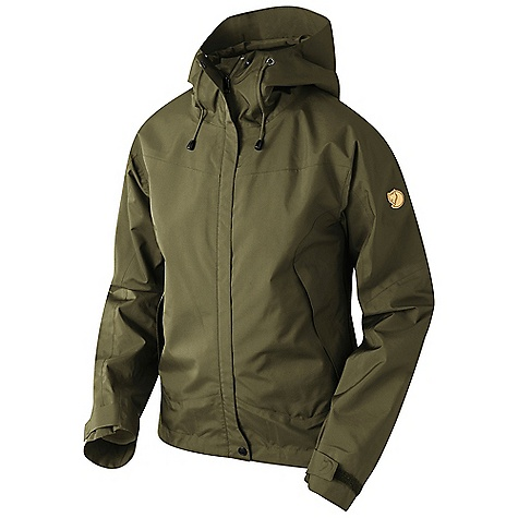 Camp and Hike On Sale. Free Shipping. Fjallraven Women's Eco-Trail Jacket DECENT FEATURES of the Fjallraven Women's Eco-Trail Jacket Lightweight 3 layer slim fitted Eco Shell jacket in recycled and recycable polyester with a flourcarbon free W/R treatment At front a two way zipper and placket with button closure at top and bottom Easy open and close 2-way side/pit ventilation 2 big hand pockets in good position on both sides so that you easy can reach them even when you carrie a backpack Safety pocket on the inside The hood has 3-way adjustment possibilities At bottom drawcord Leather details The SPECS Weight: (S): 438 g Breathability: 20 400 g/m2/24h Water column: 30 000 mm Membrane: 100% Polyester 100% Polyester - $249.00