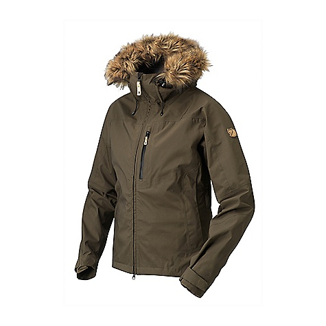 Free Shipping. Fjallraven Women's Eco-Tour Jacket DECENT FEATURES of the Fjallraven Women's Eco-Tour Jacket Hip-length three-layer shell jacket in Eco-Shell Made from recycled and recyclable polyester Fluorocarbon-free and climate-compensated The material is wind and waterproof and releases body moisture Offers dependable protection from any mountain weather imaginable Soft mesh on the inside Fixed, adjustable storm hood with reflective stripe in the back for extra visibility Detachable synthetic fur edging for protection from the wind and snow The snow lock at the waist can be zipped out if you do not need it Ventilation openings with two-way zippers under the sleeves One mesh breast pocket for extra ventilation Two side pockets and inner mesh pockets Two-way zipper in the front with an inner protective flap and buttons at the hem The sleeves are pre-shaped for maximum mobility and have velcro at the cuffs The width at the hem can be adjusted by an elastic cord inside the pockets The SPECS Membrane: 100% polyester Water column (WC): 20.000 mm Breathability (MP): 15.000 g/m2/24h Weight: 699 g in size S Consumer Material: Waterproof (ECO-SHELL) Material: 100% Recyled polyester - $498.95