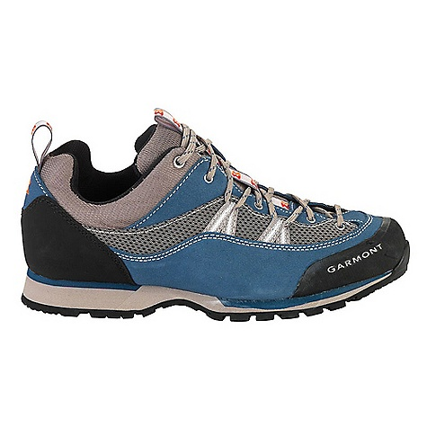 Camp and Hike On Sale. Free Shipping. Garmont Women's Sticky Boulder Shoe The SPECS for Upper Weight: 1/2 per pair: 474 gram 1.8 mm water repellent suede Extra durable 3D mesh Eyelets and web lacing hardware Rubber toe and heel bumper support and protect the foot ADD Construction provides instant comfort and minimal break-in PU Footbed: with antifungal, antibacterial, moisture and odor management properties The SPECS for Sole Bi-density Microporous Rubber Midsole for shock absorption, stability and cushioning FrameFlex Lite ensures stability; easy walking forefoot flex SuperTrek sticky compound for reliable grip Vibram Q811 Outsole: ideal for climbing performance - $88.99