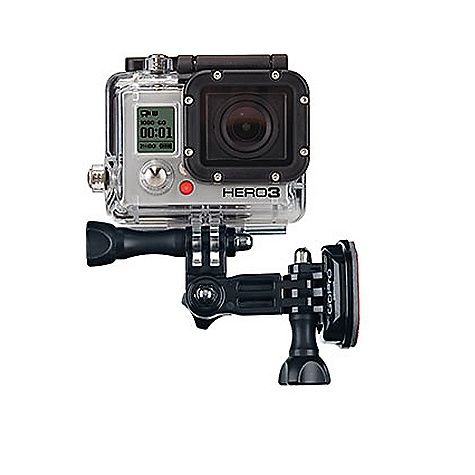 Camp and Hike Features of the GoPro Side Mount Attach your GoPro camera to the side of helmets, vehicles, gear and more 3-way pivot adjustability makes aiming easy Compatible with ALL HERO3, HERO2, and HD HERO Original Cameras What's Included Side Mount Curved Adhesive Mount - $14.99