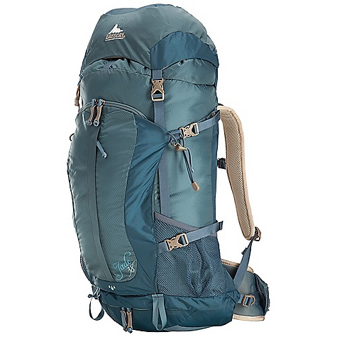 Camp and Hike Free Shipping. Gregory Women's Jade 38 Pack DECENT FEATURES of the Gregory Women's Jade 38 Pack CrossFlo DTS Suspension Auto-Fit harness system Removable raincover in zippered pocket Dual quick-access waistbelt pockets Dual side mesh pockets Side compression 210D double diamond ripstop and 330D nylon oxford flatweave Women's specific fit Sleeping bag compartment with collapsible zippered shelf Dual hydration ports and sleeve Front zippered pocket Top pocket with key clip and a second stash compartment on underside Dual axe/tool attachment points The SPECS for Small Volume: 2258 cubic inches / 37 liter Weight: 3 lbs 2 oz / 1.4 kg The SPECS for Medium Volume: 2380 cubic inches / 39 liter Weight: 3 lbs 5 oz / 1.5 kg Click to download some super information on how to properly Fit a Gregory Pack . - $168.95