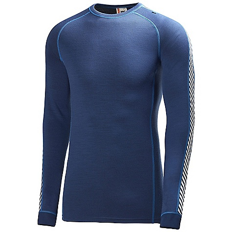 Features of the Helly Hansen Men's HH Warm Ice Crew Top HHWarm Flatlock stitching Alergy neutral Non itch Pure merino wool LIFA Stay Dry Technology - $62.99