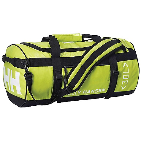 Entertainment Free Shipping. Helly Hansen HH 30L Duffel Bag DECENT FEATURES of the Helly Hansen HH 30L Duffel Bag 100% highly durable nylon tarpaulin 30 liter Padded shoulder strap Name tag holder Hide-away back pack straps Zipped outside pocket Zipped inside pocket Compression straps The SPECS 100% nylon This product can only be shipped within the United States. Please don't hate us. - $74.95