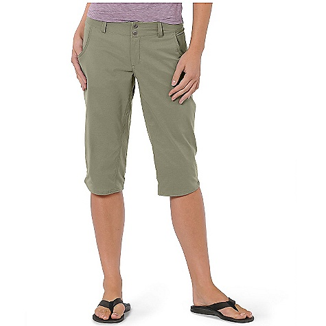 On Sale. Free Shipping. Horny Toad Women's Wearabout Capri DECENT FEATURES of the Horny Toad Women's Wearabout Capri Zipper fly with double-snap closure Curved front pockets with drop-in side stash pocket Hidden zipper welt back and side pockets Inseam gusset panel Drain and dry mesh pocketing Scallop side hem The SPECS Inseam: 17in. Fabric: Quickdry Stretch is 93% nylon and 7% spandex - $27.99