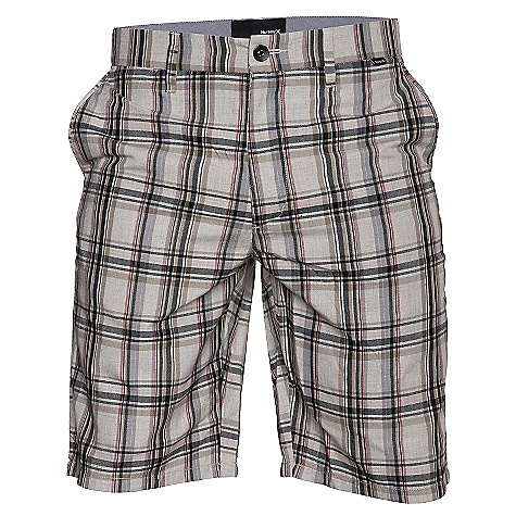 Surf On Sale. Free Shipping. Hurley Men's Shank Short DECENT FEATURES of the Hurley Men's Shank Trouser Fit 90% polyester 10% cotton yarn dye plaid Welt back pockets with single engineered pocket flap Metal botton closure at waistband and back pockets Oxford inside waistband and pocket flap Interior taping with butterflied seams Woven label branding - $19.99