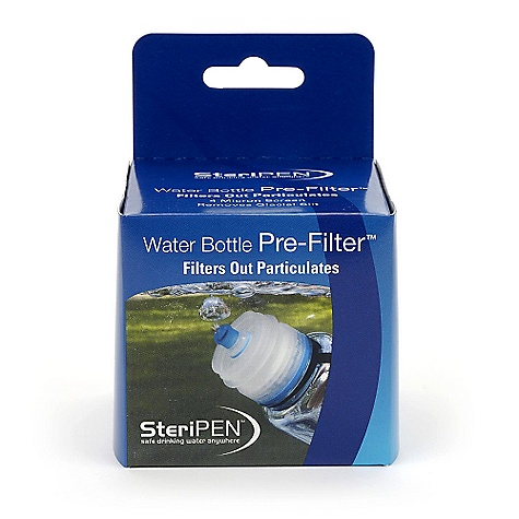 SteriPen Water Bottle Pre-Filter When clear water is not available, use the Water Bottle Pre-Filter by SteriPen. The Pre-Filter filters out particulates and debris. Fits on Nalgene & wide-mouth water bottles. SPECIFICATIONS of the Water Bottle Pre-Filter by SteriPen Product Dimensions: 2.7 W x 2.5 H in. Product Weight: W/O Batteries: 1.5 oz Package Dimensions: 3.0 L x 3.0 W x 4.25 H in. Pkg. Wt.: 2.3 oz Units/Case: 6 Case Dimensions: 12.5 L x 4.75 W x 9.5 H in. Case Wt.: 1.4 lbs Harmonized Code: 8421.21.0000 - $12.95
