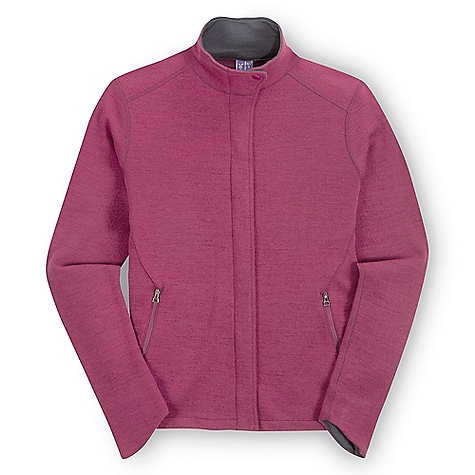 Features of the Ibex Women's Izzi Sport FZ Jacket Winter-weight wool stretch full zip Hidden full zip Ibex logo snap closure at collar 6.5in. on seam hand-warmer pockets Shaped cuff detail - $139.99