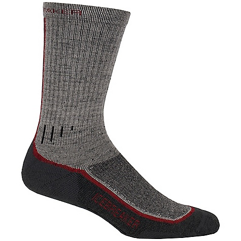 Camp and Hike Icebreaker Men's Hiker Mid Crew Sock DECENT FEATURES of the Icebreaker Men's Hiker Mid Crew Sock Achilles support Instep support Reinforced heel and toe LIN toe seam Breathable flat zone - $19.95