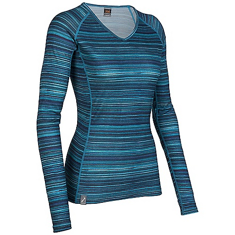 On Sale. Free Shipping. Icebreaker Women's Oasis V Ripple Top DECENT FEATURES of the Icebreaker Women's Oasis V Ripple Top The striking horizontal stripes in this design replicate patterns formed by nature, like ripples in the sand or the horizon line that separates the earth from the sky - $61.99