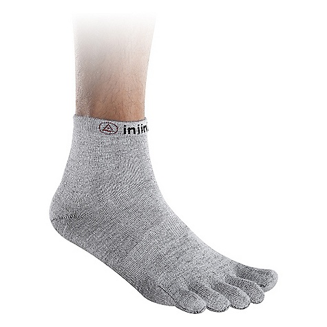 Entertainment On Sale. Injinji Mini Crew Toesock Liner DECENT FEATURES of the Injinji Mini Crew Toesock Liner Seamless 5 toe construction creates a moisture wicking and friction free environment and fights odor Designed to be worn as the base layer toesock which can interface with your favorite traditional outer sock, or worn alone for those who prefer an ultra-sleek and lightweight design Perfect complement to barefoot performance footwear Patented Anatomical Interface System is engineered to eliminate skin on skin friction to help prevent corns and blisters CoolMax enhanced polyester fiber is ideal for the most extreme conditions in any sport or activity Cushion Level: Lightweight Recommended for use as a base layer with socks or shoes 60% CoolMax(R) 35% Nylon 5% Lycra(R) This product can only be shipped within the United States. Please don't hate us. - $6.99