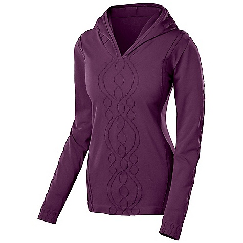 On Sale. Free Shipping. Isis Women's Cable Hoodie DECENT FEATURES of the Isis Women's Cable Hoodie Midweight layer Evaporator Technology Moisture management Quick drying Breathable Chafe-free seamless construction Engineered placement knit construction for best warmth Flat lock seams The SPECS Body Length: 25in. Fabric: 6.4 oz 93% polyester, 7% spandex with Evaporator Technology - $70.99