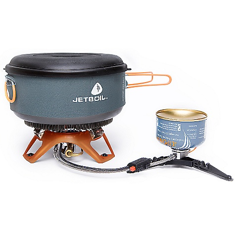 Camp and Hike Free Shipping. Jetboil Helios Guide Cooking System DECENT FEATURES of the Jetboil Helios Guide Cooking System 2.0L FluxRing Pot (Guide 2.0L and 3.0L) Pot-supporting burner base Push-button igniter assembly Fuel can stabilizer Snap-on windscreen Lid and bottom cover that doubles as a plate (lid makes a good 'flying disc' for added fun around camp) Fuel sold separately The SPECS Weight: 48 oz / 1,349 g Volume: 2 Liter and 3 Liter Boil Time: 32 oz / 1 Liter = 3 minutes Water Boiled: 24 liters per 230 gm Jetpower canister Dimensions: 5.1in. x 9.5in. / 130 mm x 240 mm - $199.95