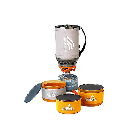 "Jetboil Sumo 3 Piece Companion Bowl Set DECENT FEATURES of the Jetboil Sumo 3 Piece Companion Bowl Set Two large 23 oz (675 ml) bowls & one small 15oz (450 ml) bowl Made from lightweight, durable polypropylene.BPA free. Color reversible, insulating cozy on each bowl Snap-on, drink-thru lids Nests inside Sumo with with burner base, fuel can, stabilizer and pot support Evenly portions out 1.8 Liters when used with Sumo measuring cup The SPECS Weight for All Bowls: 6.5 oz (190 g) Volume of Large Bowl: 23 oz (675ml) Volume of Small Bowls: 15 oz (450ml) Dimensions of Large Bowl: 4.25"" x 3"" (108 mm x 76 mm) Dimensions of Small Bowls: 4"" x 2.5"" (102 mm x 64 mm) - $19.95"