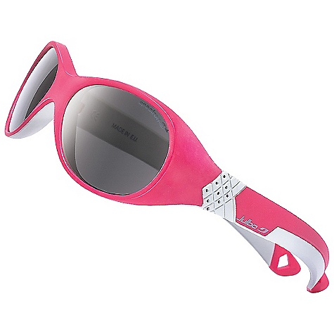 Entertainment Julbo Kids' Bubble Sunglasses DECENT FEATURES of the Julbo Kids' Bubble Sunglasses Wrap-Around+: Curved frame with wide temples to protect against harsh sunlight Curved Temples: For good hold on the face and head Flex System: Articulated hinges at temples for added comfort for various head shapes Grip Tech: Soft comfort exclusive material on the temples that doesn't stick to hair, giving perfect hold and comfort Cord Attachment: Allows attachment of a cord The SPECS Base: 6 Lens Width: 42 mm Nose Width: 13 mm Stem Length: 115 mm - $39.95