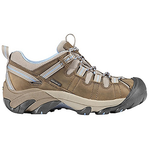 Camp and Hike The Keen Women's Targhee II Waterproof Shoe is a low hiker for all-weather hiking. If the weather is wet, this hiking shoe will be at its best, with a KEEN. DRY(TM), waterproof/breathable membrane hidden inside. Your toes stay dry as you trek through muddy trails, wet grass, and even through shallow creeks. Just don't let that water hit your ankles. The waterproof nubuck leather holds up to abuse and a rubber toe serves to protect against harsher rocks, dirt, and roots along your path. Just let the 4mm, multi-directional lugs add the traction to your every step of each trail you set upon. Features of the Keen Women's Targhee II Waterproof Shoe Waterproof nubuck leather Upper Keen dry waterproof, breathable membrane Removable metatomical Dual Density EVA Footbed Torsion stability ESS shank S3 heel support structure Dual Density compression molded EVA Midsole 4mm multi-directional lugs Non-marking rubber Outsole - $124.95