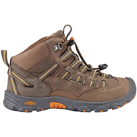 Camp and Hike Free Shipping. Keen Youth Alamosa Mid WP DECENT FEATURES of the Keen Youth Alamosa Mid WP Non-marking rubber outsole Secure fit lace capture system Waterproof breathable membrane Waterproof leather and textile upper The SPECS Activities: Hiking, Playground, School, Trails and Parks, Puddles Type: Lace Up, Boots Weather: Wet - waterproof Lining: Moisture wicking textile Upper: Leather and textile Rubber: Non-marking rubber outsole - $74.95