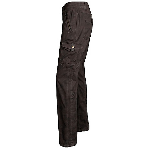 Free Shipping. Kuhl Women's Katerina Pant DECENT FEATURES of the Kuhl Women's Katerina Pant 6 total pockets; 2 front zip, 2 side 3-D cargo with snap closure, 2 back 3-D with snap closures Lower leg cinches from inside thigh cargo pocket to shorten pant length Vintage patina dyed for an authentic look Gusseted inner leg for 3-D fit and freedom of movement The SPECS Fabric: 98% Cotton, 2% Spandex - $75.00