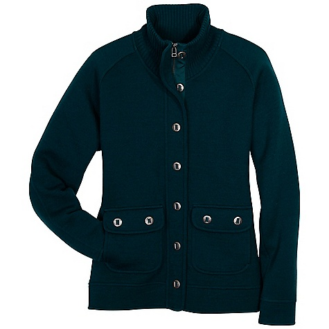On Sale. Free Shipping. Kuhl Women's Spy Jacket DECENT FEATURES of the Kuhl Women's Spy Jacket Kuhl signature metal bar buttons Zip and button front for multiple style options 2 button down stash pockets Dark Jade Smoke High ribbed collar The SPECS Fabric: 100% Double plated boiled Merino Wool - $110.99