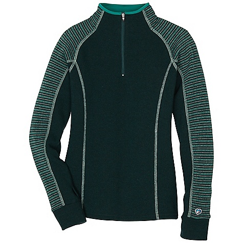 Free Shipping. Kuhl Women's Sovana 1-4 Zip DECENT FEATURES of the Kuhl Women's Sovana 1/4 Zip Contrast flatlock stitching keeps seams flat for low bulk with layering YKK zipper for reliability Microfleece roll-over collar Kuhl signature thumbloops Easy care, wash and wear The SPECS Fabric: 40% Poly, 40% Wool, 18% Nylon, 2% Acrylic - $100.00