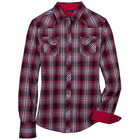 On Sale. Free Shipping. Kuhl Women's Sheridan LS Shirt DECENT FEATURES of the Kuhl Women's Sheridan Long Sleeve Shirt Soft flannel Riveted pockets Pearl snap closures Feminine styling Easy care, wash and wear The SPECS Fabric: 96% Cotton, 4% Viscose - $40.99