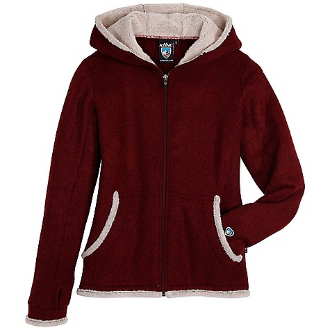 On Sale. Free Shipping. Kuhl Women's Full Zip Hoody DECENT FEATURES of the Kuhl Women's Full Zip Hoody Hood and pockets lined with shearling Contoured feminine shape Kuhl signature thumbloops The SPECS Fabric: 78% Acrylic, 22% Polyester - $58.99