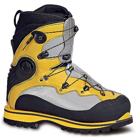 The La Sportiva Spantik Boot is a double boot for High peaks and cold mountaineering conditions. Where one boot is good, two better. You don't wear just one layer on your body, so why would you treat your feet with anything less? Of course there is certainly a time and place for other options, but the inner and outer boot combination offered by the Spantik is top-notch when it comes to warmth. Speed lacing on both helps decrease the time it takes to pile on the gear, plus the outer boot is step-in crampon compatible. Gotta love those heel and toe welts. The rubber rand protects against the harsh terrain and a Vibram Montagna Outsole is durable and tough. Time to start checking those peaks off your list. Features of the La Sportiva Spantik Boot Toasty inner boot Features micro-perforated thermo-formable PE/water-repellant lorica with antiacqua external coating and a minimal Outsole plate on the bottom for durability A warmer alternative to the baruntse, it is step-in crampon compatible, and a proven performer for north faces, winter alpinism and long periods at altitude Innovative fast lacing system for inner and outer boots allows one- handed, glove closure, even in the most heinous conditions Perfect for 6-7000 meter peaks or anywhere that you need a toasty warm Performance Fit - $750.00