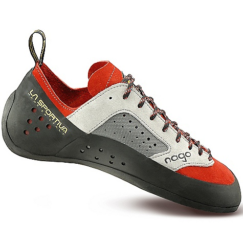 Climbing Free Shipping. La Sportiva Men's Nago Shoe DECENT FEATURES of the La Sportiva Men's Nago Shoe Ventilated upper with a perforated, lined synthetic leather arch area for moisture management A great fit that delivers performance and comfort 5mm Vibram XS Edge and XS Grip2 (Women's model) sticky rubber outsole The SPECS Weight: 8.04 oz / 228 g Construction: Slip Lasted Last: PN 45 The SPECS for Upper Leather Synthetic Leather The SPECS for Lining Dry-Best in tongue and arch only The SPECS for Midsole 1.1mm LaspoFlex The SPECS for Sole 5mm Vibram XS Edge This product can only be shipped within the United States. Please don't hate us. - $98.95
