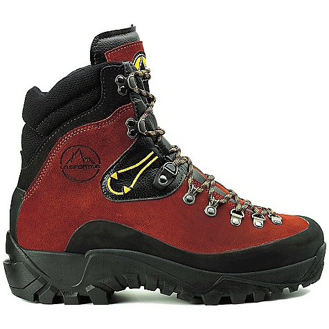 Climbing The La Sportiva Women's Karakorum Boot is a leather boot for mountaineering and heavy backpacking. Heavy duty and ready to take on NOLS or Outward Bound courses, this boot built with a 2.8mm Idro-Perwanger leather Upper takes on all sorts of weather and terrain. Built for general mountaineering and long, pack-laden hikes, the 8mm High Density Nylon; insole with anti-torsion plate and SBR Aircushion Midsole gives you the support you need for lengths of time in the mountains. The Vibram Couloir Outsole Features lugs that dig into the terrain for a sure-footed experience, add crampons as necessary. Features of the La Sportiva Women's Karakorum Boot 2.8mm Idro-Perwanger leather Uppers withstand years of abuse SBR Aircushion Midsole Features a honeycomb heel grid that flexes upon impact to provide excellent shock absorption Dry-Best? lining transports moisture away from the skin to keep your feet cool, dry and comfortable Aggressive vibram sole with semi-automatic crampon attachment for alpine Climbing Multi-directional 3D flex hinge promotes easy flex and a faster break in period Ideal for general mountaineering and heavy backpacking - $227.99