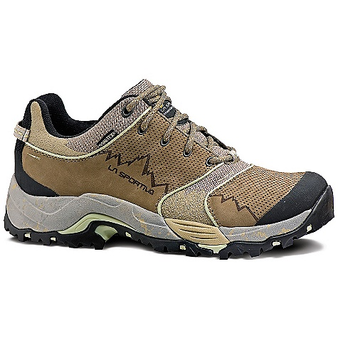 Camp and Hike The La Sportiva Women's FC ECO 2.0 GTX is a waterproof hiking shoe for day hikes and backpacking trips. The freedom of the low-cut hiker is comfortable and light upon your feet and you'll still get the stability and comfort of a Dual-Density ECO Trailon Midsole with TPU shank. The Upper is of nubuck leather and 100% recycled nylon mesh with a UreTech coating for additional abrasion resistance, all working together to protect your feet from the rigors of being on the trail. The Gore-TEX lining surrounds each foot with waterproof protection, so don't fear the rain or mud, as it can't ruin your adventure. Chart medium to Technical terrain with the Vibram River Outsole with Impact Brake System Eco-Step for stopping power. Features of the La Sportiva Women's FC ECO 2.0 GTX Flex control system creates an extremely comfortable Highly adaptable Fit by aligning materials with the key flex zones of the Midsole and Outsole Impact Brake System increases braking power and decreases impact force Nubuck leather Upper has a lightweight, abrasion resistant UreTech coating that is flexible and Highly moldable Dual Density ECO trailon Midsole provides a firm, lightweight cushion Gore-Tex? lining is waterproof and breathable Casual look lets you use the shoe in a variety of situations from Technical hiking to Technical bar hopping - $150.00