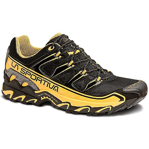 On Sale. Free Shipping. La Sportiva Men's Raptor Shoe DECENT FEATURES of the La Sportiva Men's Raptor Shoe Super sticky Frixion XF rubber outsole for excellent traction on variable terrain Protective upper to shield feet from trail obstacles TPU lacing harness for a great fit TPU heel stabilizer provides stability and protection The SPECS Weight: 12.28 oz / 348 g Last: Fit: Tempo 2 / Medium/Wide Lining: Mesh (back half and tongue only) Midsole: Memlex / Nylon molded Flex Transfer shank Sole: Frixion XF / Impact Brake System X-Axis H (mm): Heel: 28mm / Toe: 16mm / H: 12mm Cushioning: Midsole: 45A The SPECS for Upper Air-Mesh Synthetic Leather TPU Lacing Harness TPU Transkinetic Heel Stabilizer This product can only be shipped within the United States. Please don't hate us. - $88.99