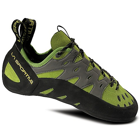 Climbing Free Shipping. La Sportiva Tarantulace Climbing Shoe DECENT FEATURES of the La Sportiva Tarantulace Climbing Shoe Quick pull lacing harness that delivers a snug precise fit Durable FriXion RS rubber compound for great grip and durability Lined tongue for moisture management The SPECS Weight: 9.3 oz / 260 g Construction: Slip Lasted Last: RN 45 The SPECS for Upper Leather Synthetic Leather The SPECS for Lining Unlined The SPECS for Midsole 1.8 mm LaspoFlex The SPECS for Sole 5mm FriXion RS This product can only be shipped within the United States. Please don't hate us. - $79.95