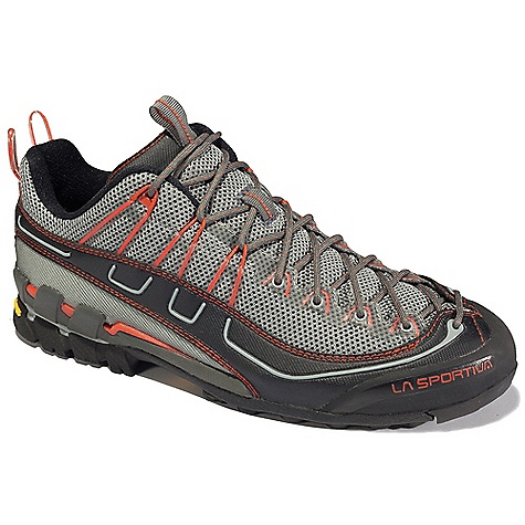 Camp and Hike Free Shipping. La Sportiva Men's Xplorer Shoe DECENT FEATURES of the La Sportiva Men's Xplorer Shoe Toe box Overwrap technology rand construction controls foot creep when edging and smearing Dual density EVA midsole is soft under the heel for all day comfort and end of day trudging Sticky Vibram Idro-Grip rubber is amazing on the rock Highly compressed EVA RockGuard in the forefoot The SPECS Weight: 13.4 oz / 375 g Construction: Strobel lasted Last: Dynamic Tech The SPECS for Upper AirMesh Hi-Wear mesh Synthetic Leather Vibram rubber rand The SPECS for Lining Mesh (back half and tongue only) The SPECS for Midsole Dual Density MEMlex TPU Stabilizer The SPECS for Sole Vibram Idro Grip X-traction Impact Brake System This product can only be shipped within the United States. Please don't hate us. - $119.95