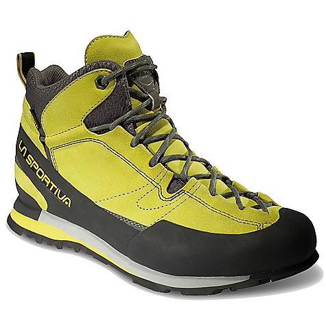 Camp and Hike The La Sportiva Men's Boulder X Mid GTX Boot is an approach shoe meets boot for protection and traction on Technical terrain. Ready for different types of weather, but performing best in spring and summer, the Gore-TEX lining keeps feet dry when it's wet while the leather, AirMesh and Vibram rubber rands through the Upper protect against debris and rock. Enjoy ankle support with the mid-height and underfoot support and comfort thanks to a Micropore EVA Midsole and 2mm LaSpEVA. Gripping everything from scree to a well packed trail is a Vibram Idro-Grip V-Smear(TM) Outsole to help you to the top of the 14er and back. Features of the La Sportiva Men's Boulder X Mid GTX Boot Stout leather Uppers on the outside for durability and Gore-Tex on the inside to keep you dry Mythos to-the-toe lacing system lets you crank the shoe down in High Performance situations Sticky vibram Idro-Grip Outsole for maximum Climbing Performance Ankle protection for those long days when you stumble out in the dark Vibram? Idro-Grip V-Smear? sole with Impact Brake System? that increases braking power and decreases impact force Air mesh in the Upper is an extremely durable, breathable mesh that keeps you dry and comfortable Board lasted provides rigidity to help on edges - $170.00