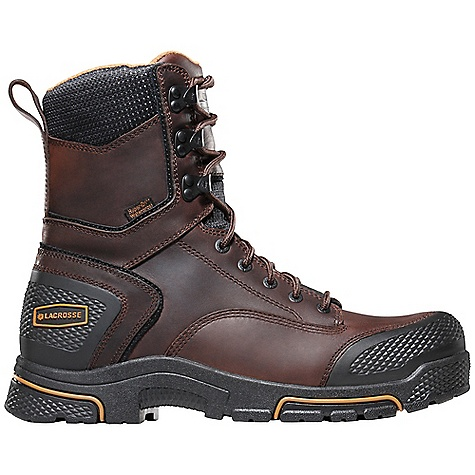 Free Shipping. Lacrosse Men's Adamas 8 Inch 600G Work Boot DECENT FEATURES of the La Crosse Men's Adamas 8 Inch 600G Work Boot Full-grain leather upper Diamond plated abrasion resistant rubber toe and heel wrap 100% waterproof Dry-Core lining Cushioning, quick drying dual-density footbed Quad Impact technology featuring four layers of cushioning and shock absorption Nylon shank Quad Impact outsole featuring a 90deg heel and oil and slip resistant traction 30 day comfort guarantee The SPECS Height: 8in. Weight: 4.6 lbs Insulation: 600G Thinsulate ultra Lining: Dry-Core Safety Standards: Meets Astm F2892-11 EH - $139.95