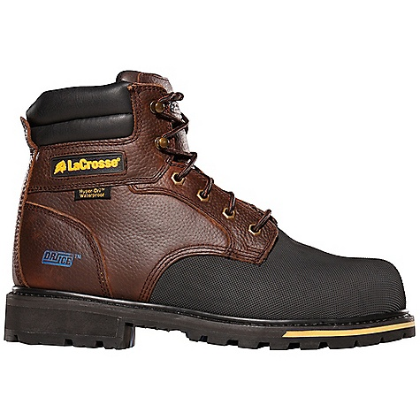 Entertainment Free Shipping. Lacrosse Men's Brakeman 6 Inch Boot DECENT FEATURES of the La Crosse Men's Brakeman 6 Inch Boot Full-grain leather upper Vibram pyramid rubber abrasion and chemical resistant toe wrap 100% waterproof Dry-Core lining Lightweight non-metallic protective toe Removable dual-density footbed Goodyear welt construction with abrasion resistant stitching and laces Fiberglass shank Vibram 573 Dri-Ice outsole featuring a 90deg heel and oil and slip resistant traction in extreme cold conditions The SPECS Height: 6in. Weight: 4.2 lbs Lining: Dry-Core Safety Standards: Non-Metallic Toe Meets or Exceeds Astm F2413-11 M I/75 C/75 EH - $149.95