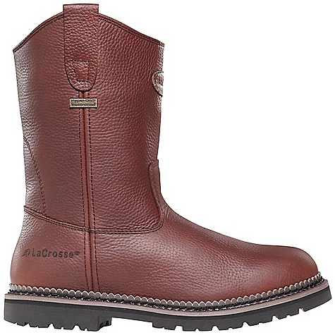 Free Shipping. Lacrosse Men's Foreman Wellington DC Boot DECENT FEATURES of the La Crosse Men's Foreman Wellington DC Boot Full-grain leather upper with pull straps 100% waterproof Dry-Core lining Triple-density open cell PU footbed Goodyear welt construction Steel shank Foreman 90 outsole featuring a 90deg heel and oil and slip resistant traction The SPECS Height: 11in. Weight: 4.1 lbs Lining: Dry-Core Safety Standards: Meets Astm F2892-11 EH - $129.95