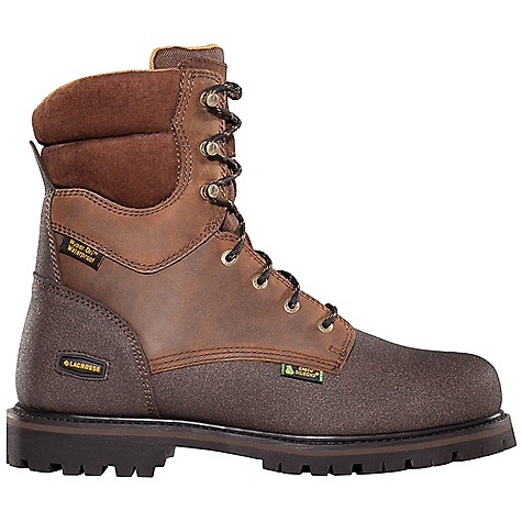 Extreme Free Shipping. Lacrosse Men's Extreme Tough 8 Inch Boot DECENT FEATURES of the La Crosse Men's Extreme Tough 8 Inch Boot Full-grain leather upper 360deg Helcor abrasion and chemical resistant leather 100% waterproof Dry-Core lining 600G Thinsulate Ultra Insulation Removable triple-density PU footbed Goodyear welt construction Fiberglass shank Green Diamond outsole features a 90deg heel and diamond flecks embedded in the rubber outsole for continued slip resistant traction in cold environments The SPECS Height: 8in. Weight: 4.6 lbs Insulation: 600g Thinsulate ultra Lining: Dry-Core Safety Standards: Meets Astm F2892-11 EH - $149.95