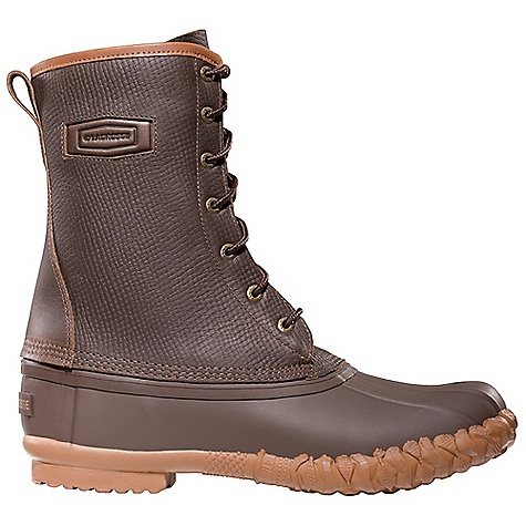 Free Shipping. Lacrosse Men's Uplander Boot DECENT FEATURES of the La Crosse Men's Uplander Boot Full-grain, oiled and distressed leather upper All natural, hand-crafted rubber bottom 100% waterproof bottom Removable Air Cushion footbed Rope Cleated outsole for slip resistant traction in snow and ice The SPECS Height: 10in. Weight: 4.6 lbs Lining: Nylon - $114.95