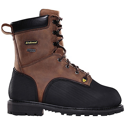 Entertainment Free Shipping. Lacrosse Men's Highwall 1000G Boot DECENT FEATURES of the La Crosse Men's Highwall 1000G Boot 2.0mm waterproof full-grain leather upper Triple stitched for maximum durability Vibram pyramid abrasion and chemical resistant toe and heel wrap 100% waterproof and breathable Gore-Tex lining Lightweight non-metallic protective toe and a flexible internal MetFlex Metatarsal guard Cushioning, quick drying dual-density footbed Fiberglass shank and puncture resistant midsole Vibram 573 Dri-Ice outsole featuring a 90deg heel and oil and slip resistant traction in extreme cold conditions The SPECS Height: 8in. Weight: 6.4 lbs Insulation: 1000G Thinsulate Ultra Lining: Gore-Tex Safety Standards: Non-Metallic Safety Toe, Flex-Shield Ii Midsole And Internal Metflex Meets or Exceeds Astm F2413-11 M I/75 C/75 MT EH PR AND CSA Z195-02 GRADE 1 ELECTRIC-SHOCK RESISTANCE - $327.95