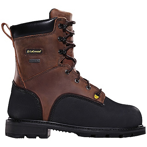 Free Shipping. Lacrosse Men's Highwall Boot DECENT FEATURES of the La Crosse Men's Highwall Boot 2.0mm waterproof full-grain leather upper Triple stitched for maximum durability Vibram pyramid abrasion and chemical resistant toe and heel wrap 100% waterproof and breathable Gore-Tex lining Lightweight non-metallic protective toe and a flexible internal MetFlex Metatarsal guard Cushioning, quick drying dual-density footbed Fiberglass shank and puncture resistant midsole Vibram Highwall outsole featuring a 90deg heel, oil and slip resistant traction and foreign object debris release The SPECS Height: 8in. Weight: 5.0 lbs Lining: Gore-Tex Safety Standards: Non-Metallic Safety Toe, Flex-Shield Ii Midsole And Internal Metflex Meets or Exceeds Astm F2413-11 M I/75 C/75 MT EH PR AND CSA Z195-02 GRADE 1 ELECTRIC-SHOCK RESISTANCE - $307.95
