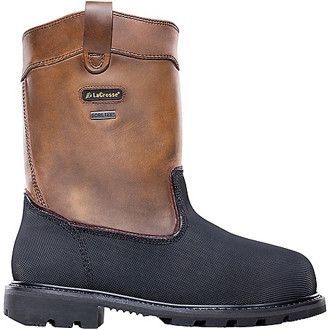 Free Shipping. Lacrosse Men's Highwall Wellington Boot DECENT FEATURES of the La Crosse Men's Highwall Wellington Boot 2.0mm waterproof full-grain leather upper with pull straps Triple stitched for maximum durability Vibram pyramid abrasion and chemical resistant toe and heel wrap 100% waterproof and breathable Gore-Tex lining Lightweight non-metallic protective toe and a flexible internal MetFlex metatarsal guard Cushioning, quick drying dual-density footbed Puncture resistant midsole and fiberglass shank Vibram Highwall outsole featuring a 90deg heel, oil and slip resistant traction and foreign object debris release The SPECS Height: 11in. Weight: 5.6 lbs Lining: Gore-Tex Safety Standards: Non-Metallic Safety Toe, Flex-Shield Ii Midsole And Internal Metflex Meets or Exceeds Astm F2413-11 M I/75 C/75 MT EH PR - $305.95