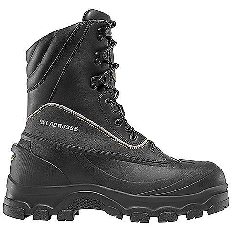 Entertainment Free Shipping. Lacrosse Men's Permafrost Boot DECENT FEATURES of the La Crosse Men's Permafrost Boot Vulcanized black rubber shell bottom with waterproof full-grain leather upper Uncompromising waterproof protection Abrasion resistant PU coated leather protection 3M Scotchlite reflective piping for increased visibility 1000G Thinsulate Ultra Insulation Lightweight non-metallic toe protection Removable dual-density footbed with TPU arch support and PU toe to heel cushioning and protection Fiberglass shank LaCrosse Permafrost outsole is an ultra aggressive design featuring a deep lug pattern and a 90o degree heel for extreme traction in snow and ice The SPECS Temperature Rating: -70 F Height: 10in. Weight: 6.7 lbs Insulation: 1000g Thinsulate ultra Lining: Dry-Core Safety Standards: Non-Metallic Toe Meets or Exceeds Astm F2413-11 M I/75 C/75 EH - $249.95