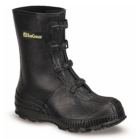 Free Shipping. Lacrosse Men's Z Series 11 Inch Overshoe DECENT FEATURES of the La Crosse Men's Z Series 11 Inch Overshoe All natural, hand-crafted ZXT ozone and tear resistant rubber Uncompromising waterproof protection Designed to fit over wedge or flat heel footwear Non-corrosive metal buckles for an adjustable secure fit 3M Scotchlite Reflective Material wraps heel Hex-Tread outsole for increased stability and traction on ladder rungs The SPECS Height: 11in. Weight: 4.0 lbs Lining: Nylon - $53.95