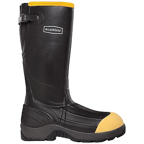 Hunting Free Shipping. Lacrosse Men's Insulated Alpha Aggressive Boot FEATURES of the La Crosse Men's Insulated Alpha Aggressive Boot All natural, hand-crafted, tear and chemical resistant rubber over 3.5mm Insulating neoprene Uncompromising fit and waterproof protection from La Crosse Alpha Construction Adjustable back gusset and strap 800G Thinsulate Ultra Insulation Contoured Ankle-Fit design to prevent heel slippage Lightweight non-metallic toe protection Non-exposed floatable shock absorbing midsole Open cell PU footbed Fiberglass shank Mudlite rubber cup outsole featuring oil and slip resistant traction Chemically tested against 25 industry chemicals; see category tab for chart - $173.95