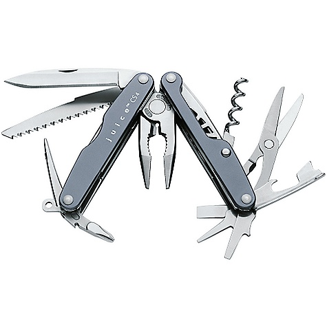 Camp and Hike Free Shipping. Leatherman Juice CS4 Multi Tool FEATURES of the Leatherman Juice CS4 Multi Tool Stainless steel boduy with anodized aluminum handle scales Outside-accessible tool and knives Fixed lanyard ring - $86.95