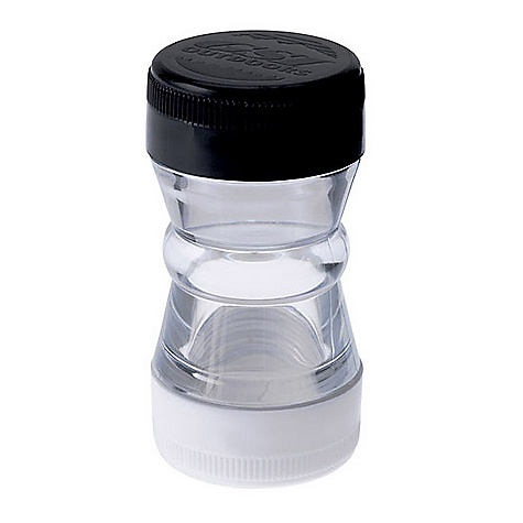 Camp and Hike GSI Salt and Pepper Shaker DECENT FEATURES of the GSI Salt and Pepper Shaker Waterproof screw caps keep your salt and pepper dry Dispenser screens and caps remove easily for cleaning and refilling Compact, twin-compartment shaker design perfectly suited to carrying salt and pepper or other spices while backpacking. - $4.95