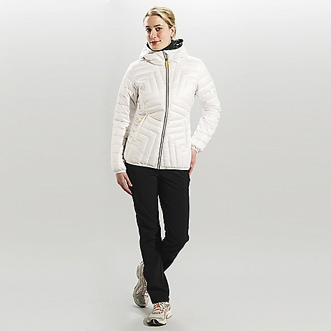 On Sale. Free Shipping. Lole Women's Elena DECENT FEATURES of the Lole Women's Elena Quilted jacket with center front zip Attached hood with lycra binding finish 2 hand zip pockets Lycra binding finish at hem and sleeve opening Downglow 600 insulation Length: 27in. / 70 cm - $108.99