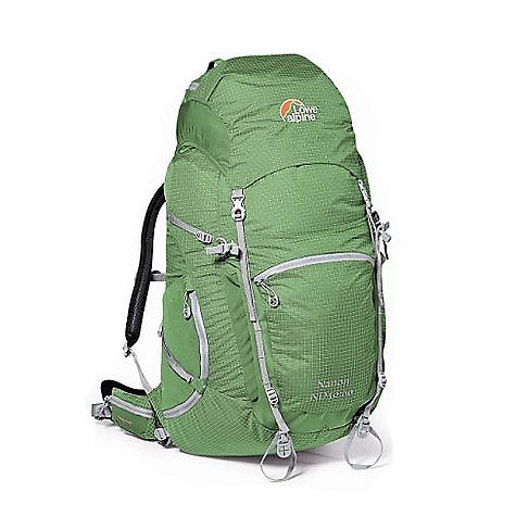 On Sale. Free Shipping. Lowe Alpine Nanon ND 50:60 Pack FEATURES of the Nanon ND 50:60 Pack by Lowe Alpine Super lightweight pack that still carries well Lightweight but durable Dyneema fabric body Lightweight ND Centro adjustable women's back for maximum comfort from a precise fit Lightweight version of AdaptiveFit hipbelt ensuring maximum comfort 10mm web reduces weight with no loss of function Airflow mesh in back panel reduces moisture build up Front compression pocket for wet gear or additional quick access items Extra external lashing points Large stretch side pockets Key clip Lid lash points SOS panel Secure internal lid pocket Unique walking pole tip grabbers for secure storage Reflective logos Hydration pocket Ventilating harness Hipbelt pockets Extendible lid SPECIFICATIONS: Volume: 50lt+10 lt extension=60 lt / 4000+600 cu in Weight: 1.26 kg. / 2 lb. 12 oz. Fabric: DYNEEMA Load Zone: 10-15 kg. / 22-33 lb. - $159.99
