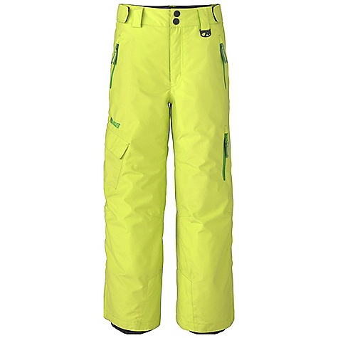 Free Shipping. Marker Boys' Shield Pant DECENT FEATURES of the Marker Boys' Shield Pant Critically Seam Sealed Adjustable External Velcro Waistband Tabs Powder Cuff with Gripper Elastic Scuff Guards Articulated Knees Cargo Pocket Zippered Thigh Pocket YKK Zippers CPSIA Approved The SPECS Inseam: 23in. 100% Polester Twill 5.0 oz/ yd Insulation: 100% Polyester 80gm - $139.50